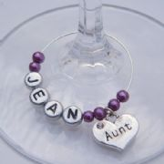 Aunt Personalised Wine Glass Charm